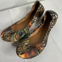 Womens Size 7.5 Ballet Flats Peacock Feather Print Lucky Brand Shoes Slip On - $24.72