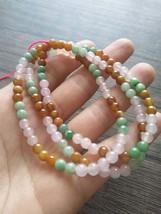 Jadeite Beaded (5.0mm) Necklace Bracelet, Green Brown Yellow Pink, 108 b... - $300.00
