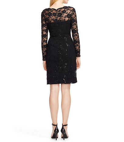 NWT WOMEN LAUREN RALPH LAUREN Black  Sequined Lace Ruched Dress Size 2P $194