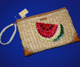 Michael Kors Malibu Watermelon Woven Straw XL Zip Clutch image 11