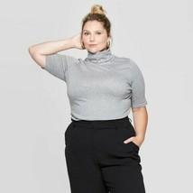 Ava & Viv Women's Plus Size Elbow Sleeve Turtleneck T-Shirt Heather Gray... - $13.49