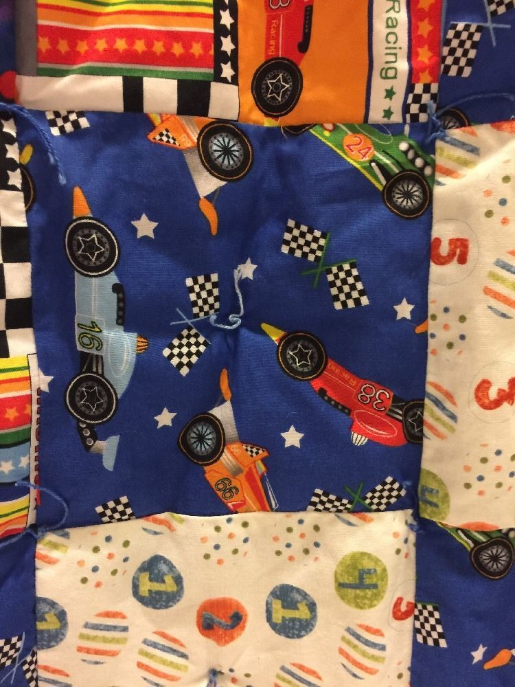 Handmade Quilt Race Cars Trucks ,Stroller Buggy Wall Hanging Colorful Blanket