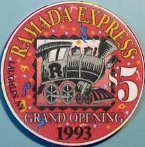 $5 Casino Chip, Ramada Express, Laughlin, NV. Grand Opening 1993. W34. - $6.99