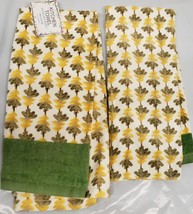 "2 SAME PRINTED COTTON KITCHEN TOWELS (15"" x 25"") YELLOW & GREEN LEAVES b... - $10.88"