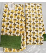 """2 SAME PRINTED COTTON KITCHEN TOWELS (15"""" x 25"""") YELLOW & GREEN LEAVES by AM - $10.88"""