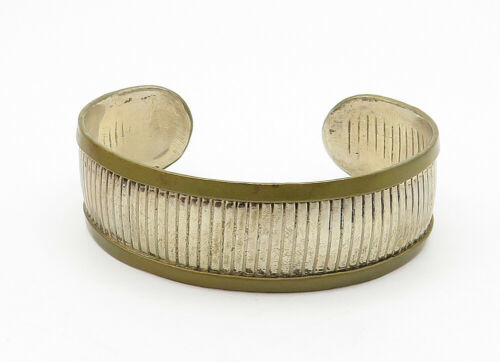 MEXICO 925 Sterling Silver - Vintage Two Tone Linear Etched Cuff Bracelet- B6282 image 2