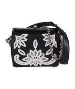 New Alexander McQueen $2,490 Black Embroidered Leather Box 19 Crossbody ... - $717.75