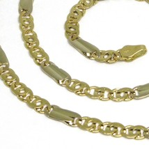 18K YELLOW WHITE GOLD CHAIN, TIGER EYE AND ONDULATE PLATE, 20 INCHES, ITALY MADE image 2