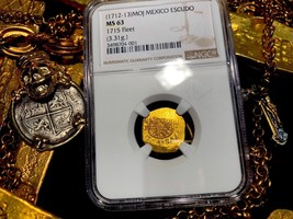 MEXICO 1712-13 NGC 63 1 ESCUDO 1715 FLEET PIRATE GOLD COINS SHIPWRECK TR... - $4,450.00
