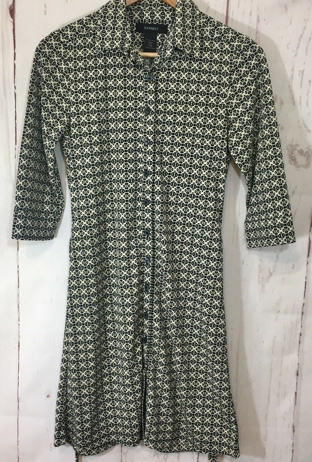 Express Dress Button Down Sz 5/6 3/4 Collared Belted 3/4 Sleeve Career image 2