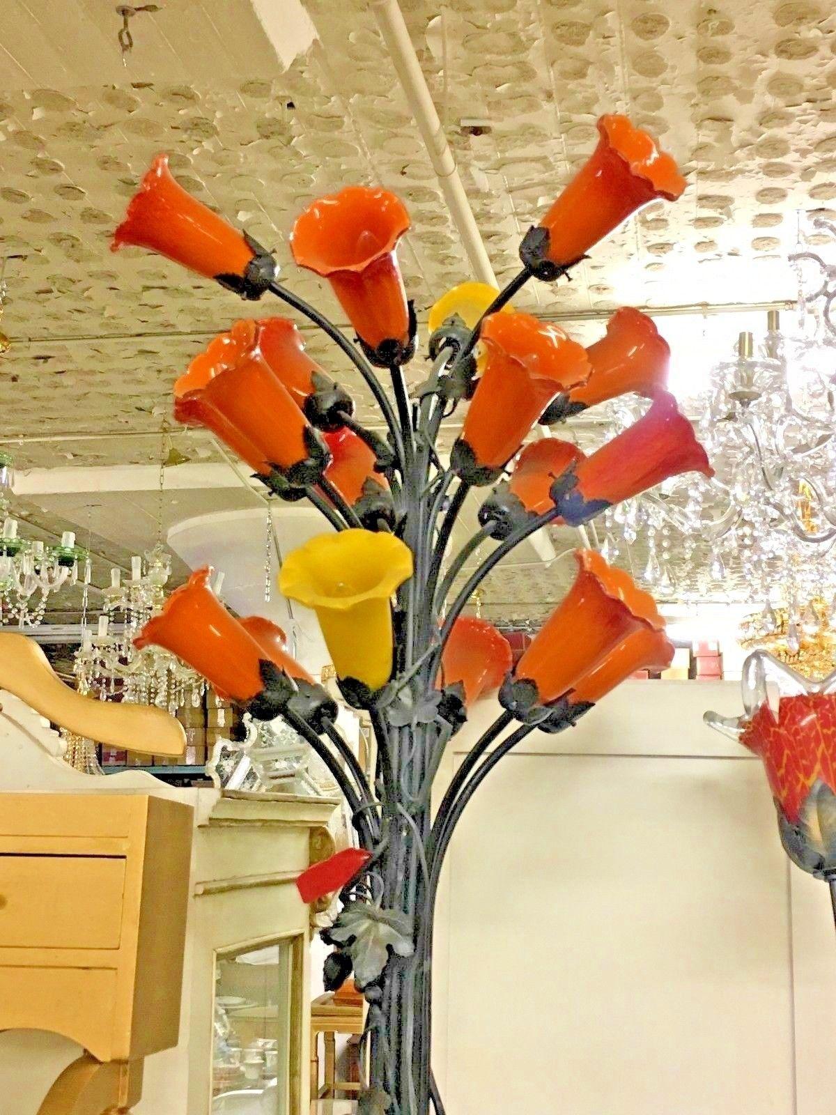 """Italian Murano Glass Tulip Floor Lamp Bronze Base  70"""" Tall"""