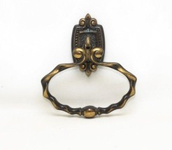 Vintage Amerock Carriage House Antique Brass Hand Towel Holder Ring - $9.89