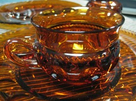 King's Crown Thumbprint Indiana Amber Glass Plate and Cup Luncheon Set of 4 - $29.75