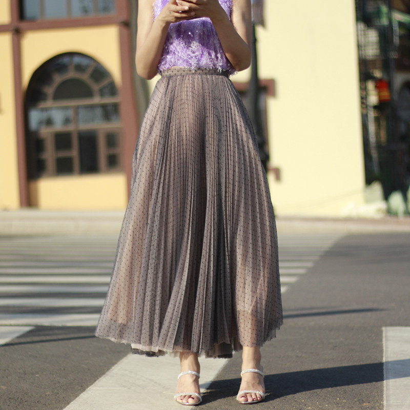 Women Full Pleated Long Skirt Pleated Tulle Tutu Skirt Party Tulle Outfits Plus  image 9