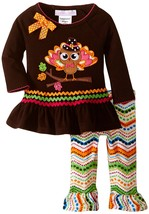 Bonnie Jean Baby Girls 3M-9M Brown/Multi Turkey Chevron Stripe L/S Dress/Legging