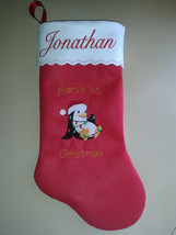 "19"" Personalized Embroidered Baby's First Christmas Stocking - Christmas... - $13.95"