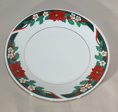 Salad Plate Tienshan Deck the Halls Poinsettia Green Gold Verge Christmas
