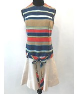 Vintage 1960s Sears Blue Red Multi Striped Drop Waist Hip Belt Dress siz... - $39.95