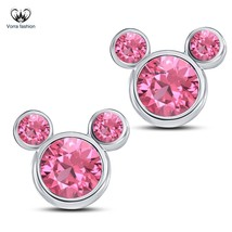 Pink CZ White Gold Finish Pure 925 Sterling Silver Women's Swirl Stud Ea... - £28.45 GBP