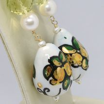 Yellow Gold Earrings 750 18k with Pearls and Drop Hand Painted Made in Italy image 3