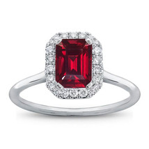 Emerald Cut Red Garnet Womens Engagement Ring 14k White Gold Finish 925 ... - £56.52 GBP