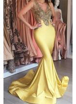 Beaded V-neck Appliques Sleeveless Yellow Stretch Mermaid Sexy Prom Dress - $179.00