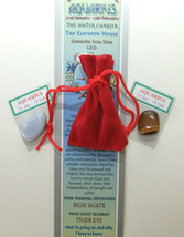 AQUARIUS-Bookmark-Birthstones-Red Velvet pouch-'Astrology the Secret Cod... - £3.91 GBP