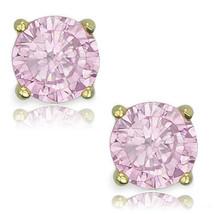 Round Cut Cubic Zirconia CZ Rose Crystal 14K YG Sterling Silver October Stud - $14.84+