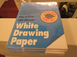 """Roselle , White Drawing Paper , 9""""X12"""" 100Sheets , Medium Weight , 5 Packs - $24.70"""