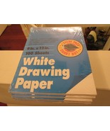 """Roselle , White Drawing Paper , 9""""X12"""" 100Sheets , Medium Weight , 5 Packs - $24.95"""