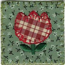 "1 1/2"" x 1 1/2"" Country Plaid Flower Tulip Embroidery Patch - $4.95"