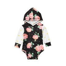 Newborn Baby Infant Girls Long Sleeve Patchwork Floral Romper Hooded Jum... - $10.39