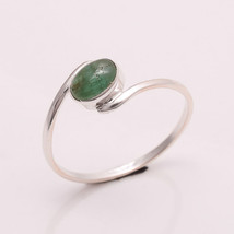 NATURAL EMERALD 6*4 MM OVAL CABOCHON 925 STERLING SILVER 6.5 US RING - £12.21 GBP