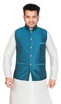 Uomo Nehru Stile Gilet Formale Solo Giubbotto senza Maniche Mix Seta 102... - £42.90 GBP