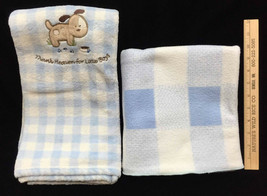 Baby Blankets Blue Carters Dog Thank Heaven For Little Boys & Plaid Chec... - $39.55