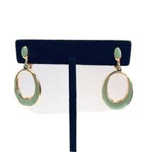 Vintage Mint Green Enamel Door Knocker Clip On Earrings GOLDTONE Stateme... - $10.44
