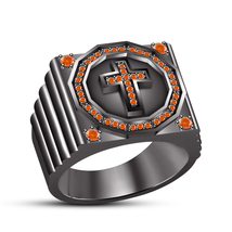Round Cut Orange Sapphire 14k Black Gold Finish 925 Silver Christian Cross Ring - $155.40