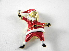 Cute Santa Claus Pin with Red and white enamel Vintage Jewelry - $13.49