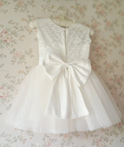 WHITE Lace Tutu Flower Girl's Dress White Knee Length Birthday Party Dresses NWT image 3