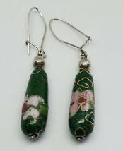 Green Floral Cloisonne Bead Sterling Silver Wire Dangle Earrings - $10.00