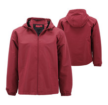 Red Label Men's Lightweight Nylon Hooded Water Resistant Zip Up Rain Jacket