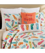 Flip Flop Life Coastal 3 Pc Queen or King Quilt Set-Quilted Bedspread wi... - $38.50+