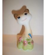 "Fenton Glass 4"" Happy Kitty Cat Spring Flowers & Bluebird FAGCA LE of 34 Burton - $193.52"