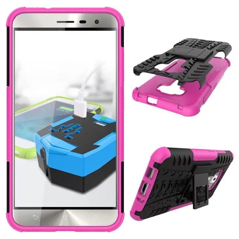 Hybrid Armor Kickstand Cover Case For ASUS ZenFone 3 ZE552KL 5.5inch - Hot pink
