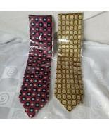 Pfizer Neckties Little Blue Pills Maroon/Navy Gold/Navy Checkered Medici... - $42.70