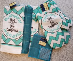 Kitchen Linens Set 7pc Towels Dishcloths Mitts Blue Turquoise, Live Joy Laughter