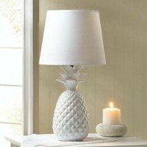 Pineapple White Lamp Bedside End Table Lamp Night Light With Shade - $29.65