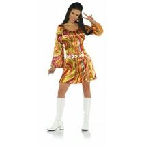 Underwraps Disco Chick Orange 70s Wirbel Kleid Erwachsene Halloween Kost... - $24.70