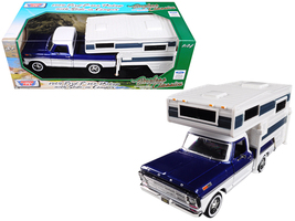 1969 Ford F-100 Pickup Truck with Slide-In Camper Blue and White 1/24 Di... - $48.82