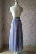 Gray Full Long Pleated Skirt Women High Waisted Gray Pleated Tulle Maxi Skirt  image 5